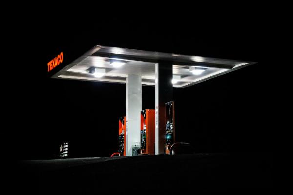 Texaco Station at night