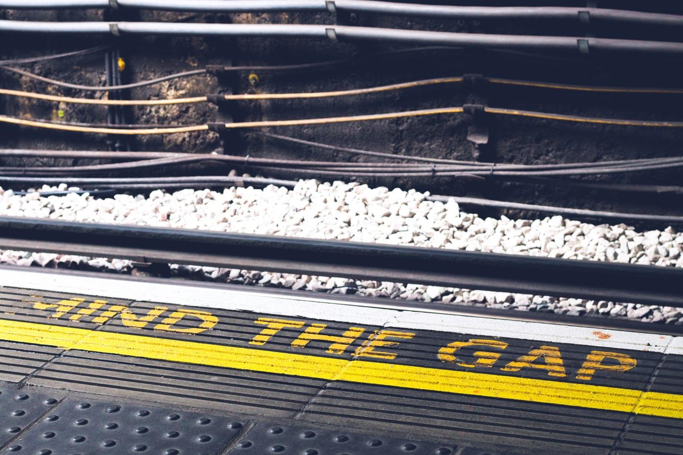 Mind the Gap warning on rail platform